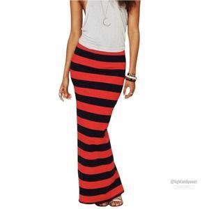 Free People Navy Red Stripe Column Maxi SkirtEUC